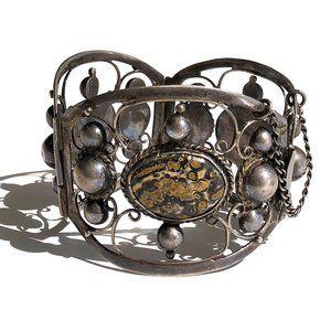 Vintage 64g Sterling Silver Jasper Panel Bracelet